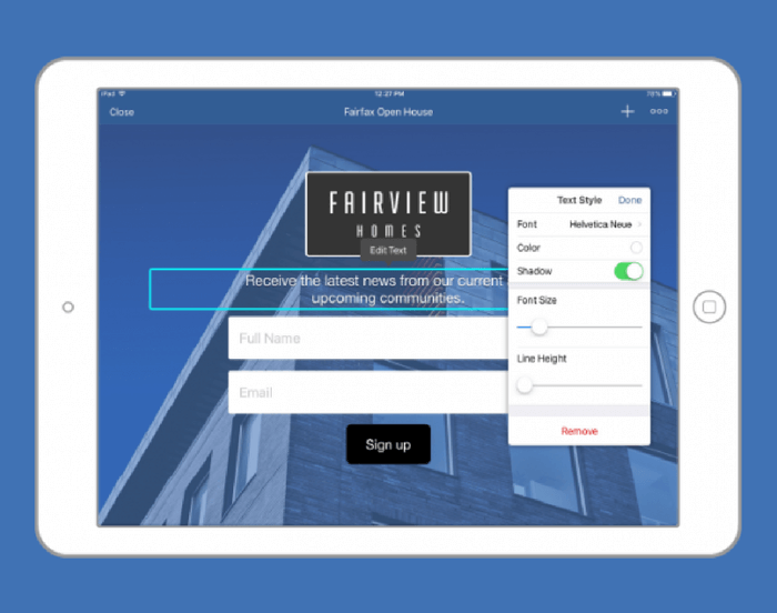 Real Estate Lead Form for iPads