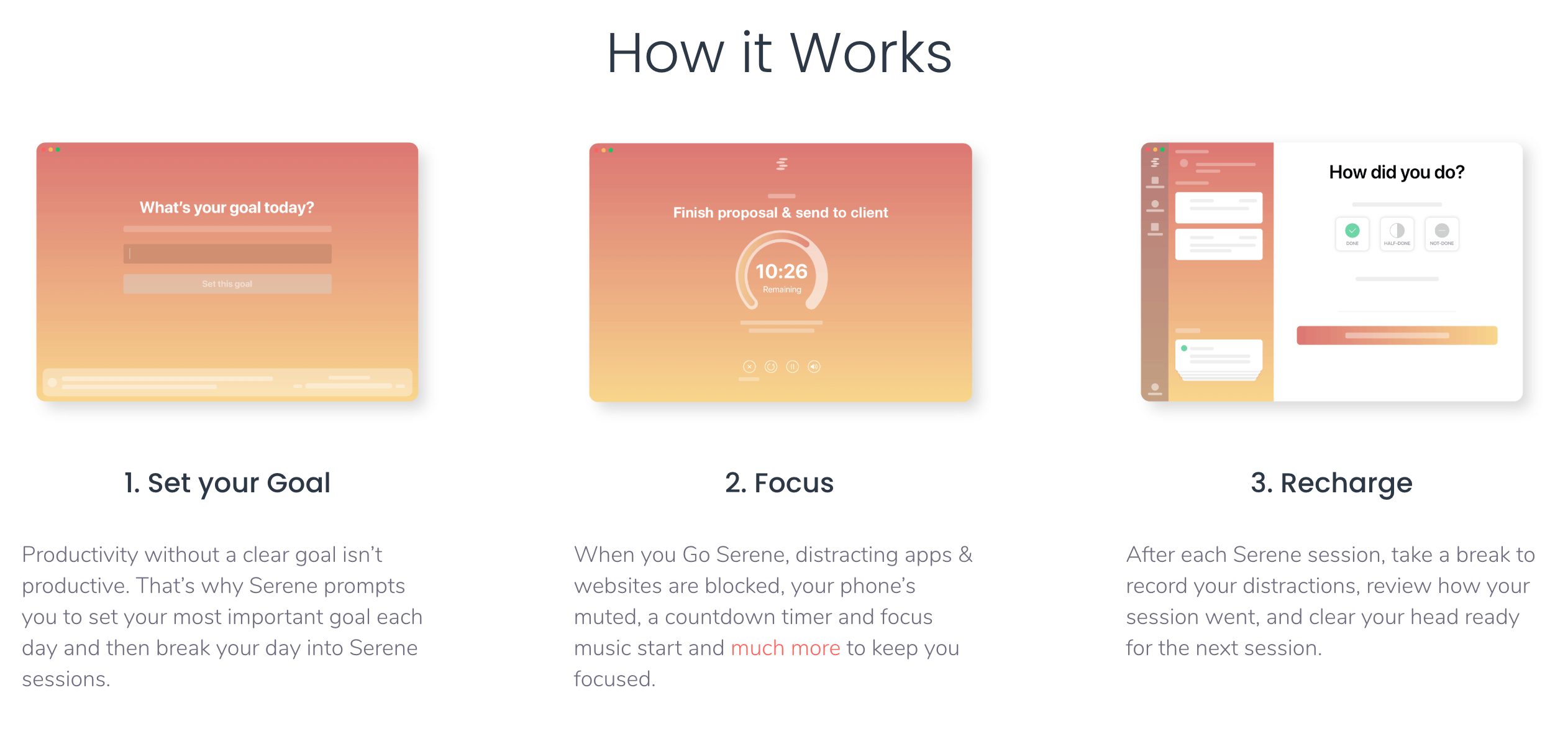Serene app how it works