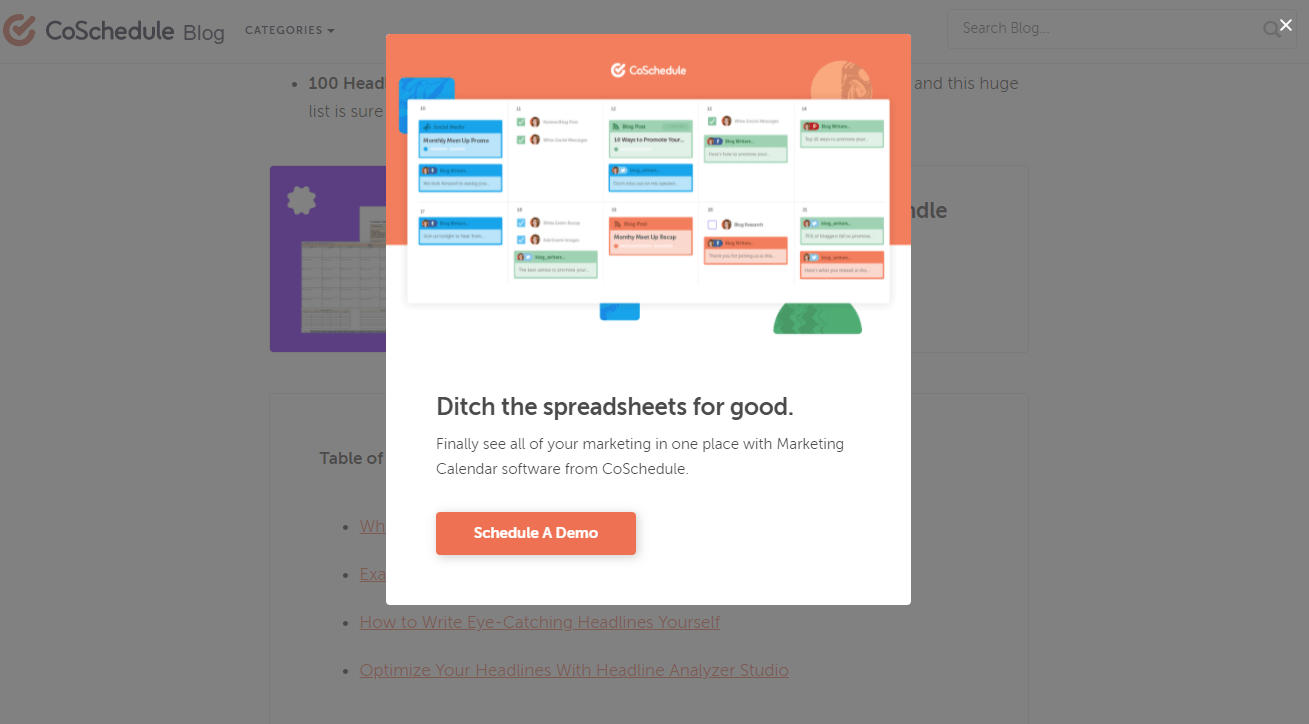 CoSchedule email popup examples