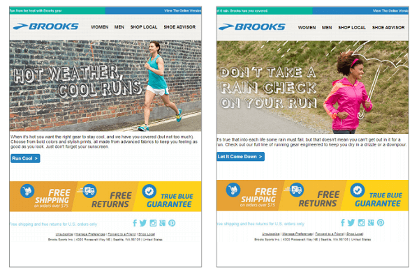 Brooks example of dynamic content in emails
